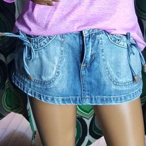 Mini skirt denim leather trim sz 00 Yag Couture